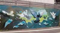飛鴿牆壁彩繪,民宿彩繪,打卡牆彩繪@tel:0935161555  line-id : li5228_圖片(3)