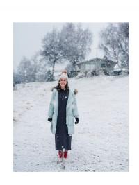 羽絨棉毛領連帽防風長版外套(4色)_圖片(3)