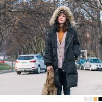 羽絨棉毛領連帽防風長版外套(4色)_圖片(4)