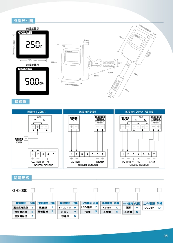 GR3000-溫溼度感知器/溫溼度LCD背光顯示器/溫溼度傳送器/RS485溫溼度感測器/溫溼度傳訊器/風管溫溼度顯示器/風管溫溼度  控制器/出風口溫溼度監控/風管溫溼度傳送器/空氣溫溼度傳訊器/風 - 20200319153635-605136877.jpg(圖)